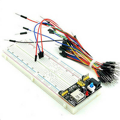 MB-102 830 Point Solderless PCB Breadboard+Power Supply + 65pcs Jump Cable Wires