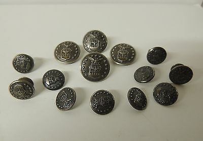 14 Antique Waterbury Military Buttons WWII Air Force Eagle Stars Shield New York