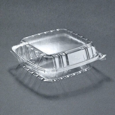 """8 5/16"""" x 8 5/16"""" x 3"""" ClearSeal Hinged Lid Plastic Container - 250/Case"""