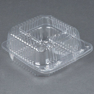 "5"" x 5"" x 2 1/2"" Clear Hinged Lid Plastic Container - 500/Case 433PXT505"