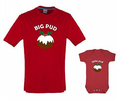 BIG PUD little pud adult T-shirt & child baby grow combo Christmas gift set