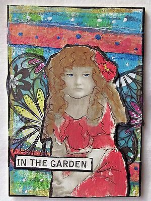 IN THE GARDEN Original Art Mixed Media Collage ACEO vintage CHILDREN outsider