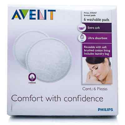 Philips AVENT Washable Nursing Breast Pads Extra Soft and Absorbent 6Pcs - White