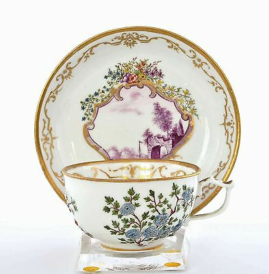 Old Meissen Raised Encrusted Flowers with Castle Fort Porcelain Cup & Saucer Mk