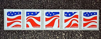USA2014 #4894-4897 Forever Red White and Blue Plate Number Coil Strip 5 Mint PNC