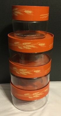 Vtg Lot  4 Pyrex Store & See Glass Canister Set -  Autumn Harvest Wheat - RARE!