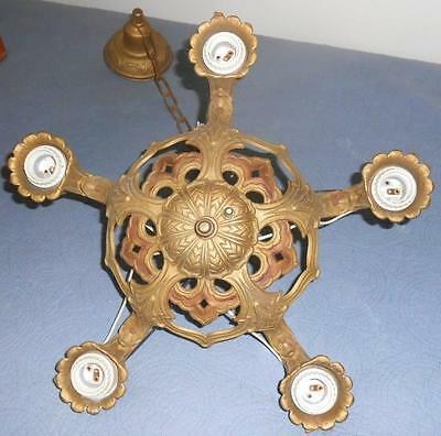 Art Deco Polychrome Cast Iron (Puritan) 5 Light Chandelier Hanging Fixture