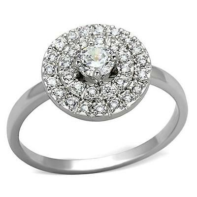 MJS Silver Tone Four-Prong Cubic Zirconia Halo Engagement Ring Sizes 9