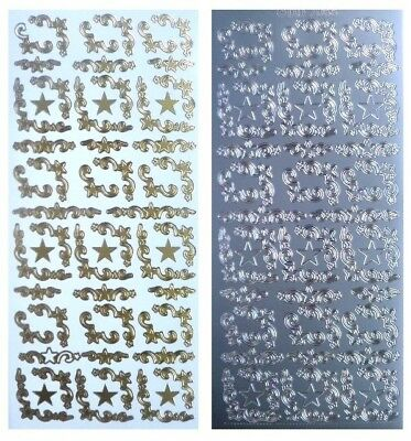 STAR CHRISTMAS CORNERS Peel Off Stickers Flourish Stars & Swags Gold or Silver