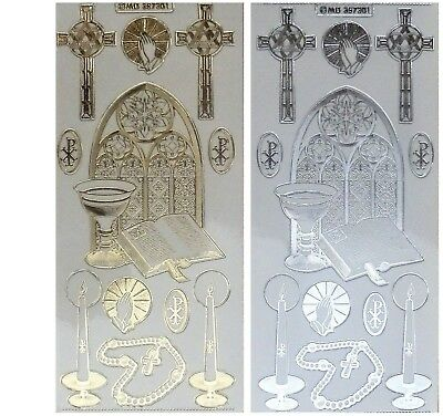 EMBOSSED CHURCH WINDOW Peel Off Stickers Christmas Gold Silver Clear Sticker