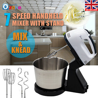 7 Speed Electric Hand Mixer Whipper Strip Beater Food Powerful Appliances Stand