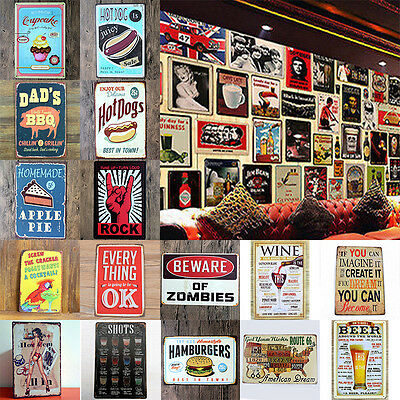 Vintage Metall Tin Sign Retro Poster Plaque Bar Taverne Cafe Haus Wand Dekor