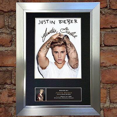 JUSTIN BIEBER No3 Signed Autograph Mounted Photo Repro A4 Print no600