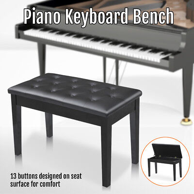 Luxury Double Seat Long Piano Keyboard Bench Stool PU Leather Seat Chair Black