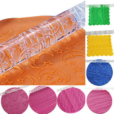 Textured Embossing Acrylic Rolling Pin Fondant Cake Decoration Tools 14 Styles
