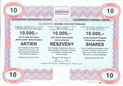Ungarn Engineering Company Aktie 10.000 Forint 1991 Muster