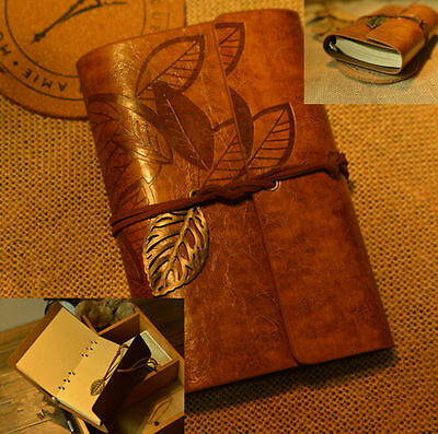 Vintage PU Leather Key Leaf String Bound Blank Diary Notebook Journal Travel TIA
