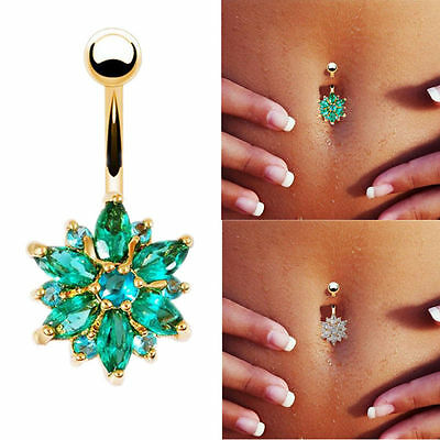 Surgical Steel Navel Ring Titanium Belly Button Rhinestone Body Bar Piercing