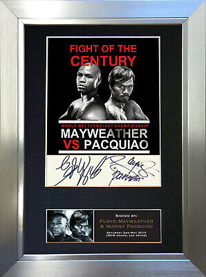 MANNY PACQUIAO & FLOYD MAYWEATHER Signed Autograph Mounted Photo Repro A4 563