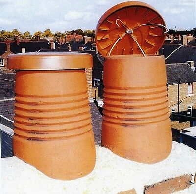 C Cap Chimney Capper / Venting Disused Chimney Pots 300mm or 350mm / Red or Buff