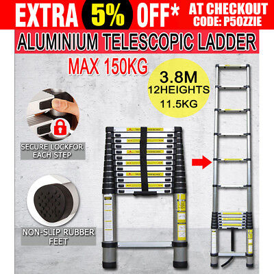 3.8m Telescopic Aluminium Ladder Alloy Extension Extendable Steps Folding Home
