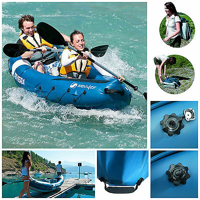 Sevylor Riviera 2 Person Kayak Inflatable Safety Canoe Boat Aluminium Paddles
