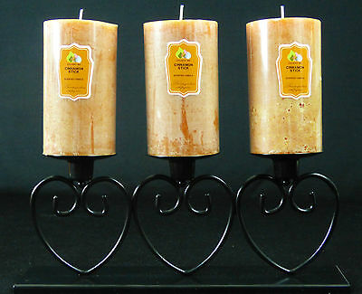 3 Scented Large Rustic Pillar Candles And Black Heart Metal Holder