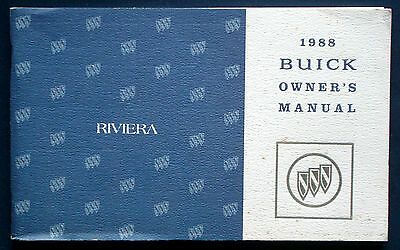 Owner's Manual * Betriebsanleitung 1988 Buick Riviera  (USA)