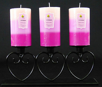 3 Scented Large Layered Pillar Candles And Black Heart Metal Holder