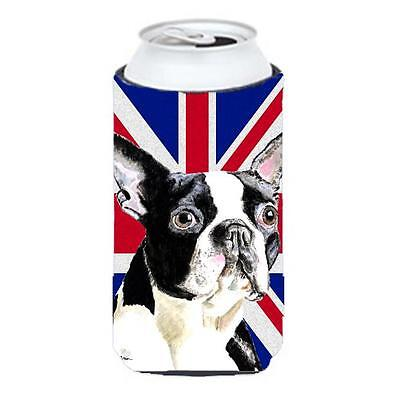 Boston Terrier With English Union Jack British Flag Tall Boy bottle sleeve Hu...