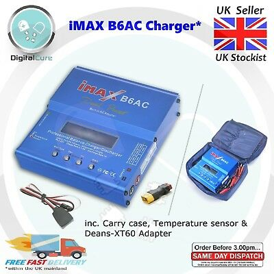 iMax 80W B6AC RC Lipo NiMH Battery Balance Charger Discharger + XT60 to Deans-T
