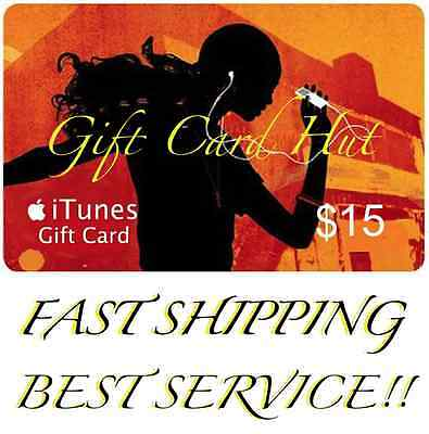 $15 US iTUNES CARD gift voucher certificate Apple USA USD iTune 100% Genuine