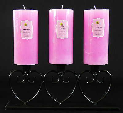 3 Scented Extra Large Rustic Pillar Candles And Black Heart Metal Holder