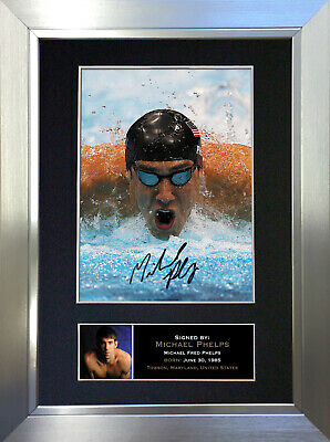 MICHAEL PHELPS Signed Autograph Mounted Photo Repro A4 Print no264