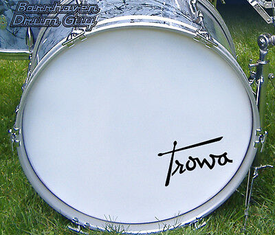 Trowa, Vintage, Repro Logo - Adhesive Vinyl Decal, for Bass Drum Reso Head