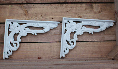"Pair White 8x6"" ANTIQUE HEAVY CAST IRON VICTORIAN SHELF WALL BRACKETS - BR07wx2"
