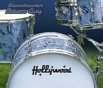 Hollywood, Vintage, Repro Logo - Adhesive Vinyl Decal, for Bass Drum Reso Head