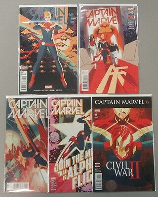 Captain Marvel #1 3 4 5 6 Run Lot 5 Comics Alpha Flight NM/VF 1st Prints 2015
