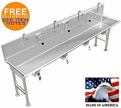 "Multi User 4 Station Hand Wash Sink 84"" With Knee Valves 4 Legs Made In America"
