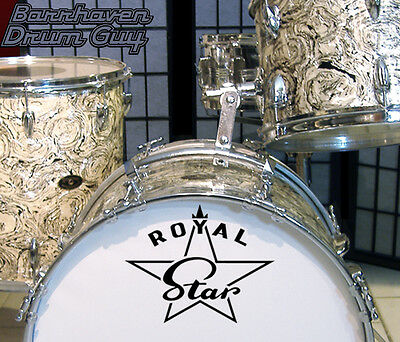 Royal Star, 60s/70s Vintage, Repro Logo - Adhesive Vinyl Decal, for Bass Drum