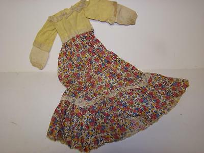 Vintage Composition Hard Plastic Doll 1960S Yellow Dress Lace & Floral