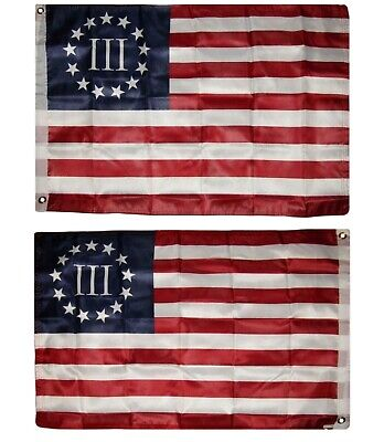 2x3 Betsy Ross Nyberg 3% III 2 Faced 2-ply Wind Resistant Flag 2x3ft