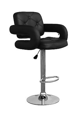 Pair (2) High Back Bar Stools With Gas Lift Black Colby Bar Stool With Footrest
