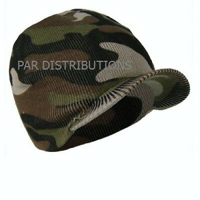 Camouflage Camo Peak Cap Hat Skull Army Snowboard Winter Fishing Mens Cold Carp
