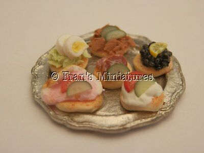 Dolls house food: Silver tray of assorted canapes  -By Fran