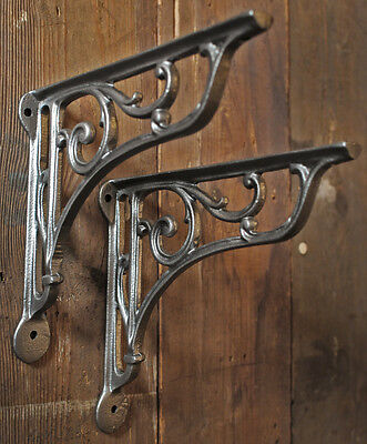 "Pair Pewter 8"" ANTIQUE CAST IRON VICTORIAN SHELF WALL CISTERN BRACKETS (BR10px2)"
