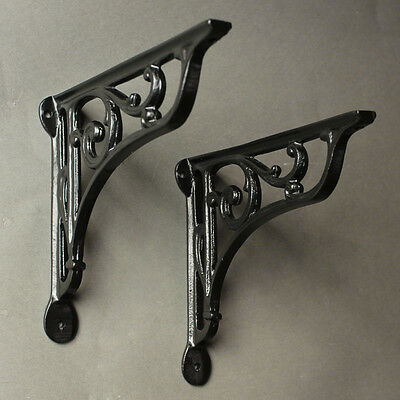 "Pair of Black 8"" ANTIQUE CAST IRON VICTORIAN SHELF WALL CISTERN BRACKETS BR10bx2"
