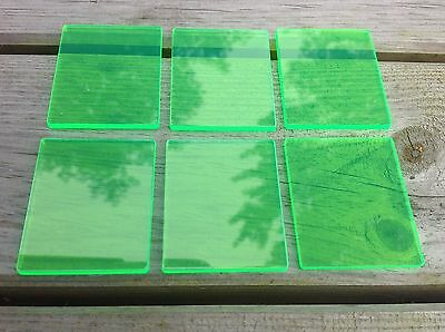 Acrylic stamping blocks, pack of 6, green,4.5cm x5.5cm, lazer cut made in uk.