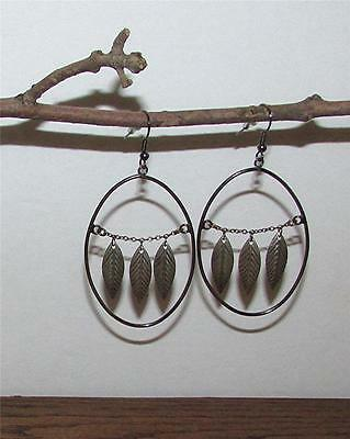 Beautiful Vtg. Pair Of Bronze Color Falling Leaves Hoop Dangle Pierced Earrings