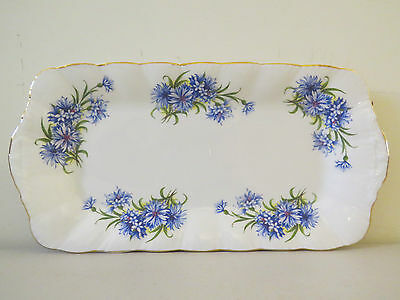Lovely Royal Standard Bone China Serving Tray Blue Flowers Gold Embossed England